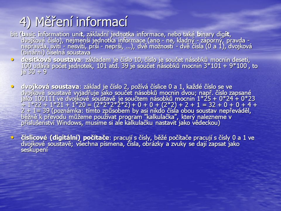 4) Měření informací