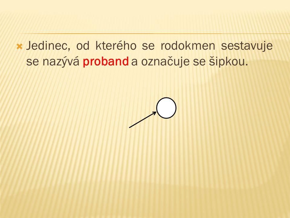 Jedinec, od kterého se rodokmen sestavuje se nazývá proband a označuje se šipkou.
