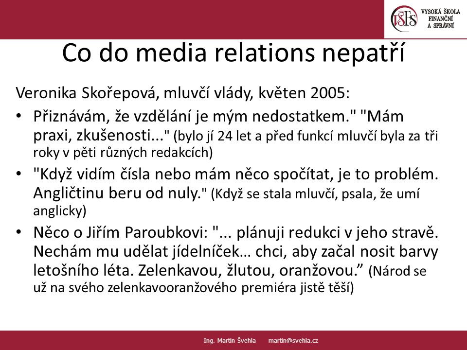 Co do media relations nepatří