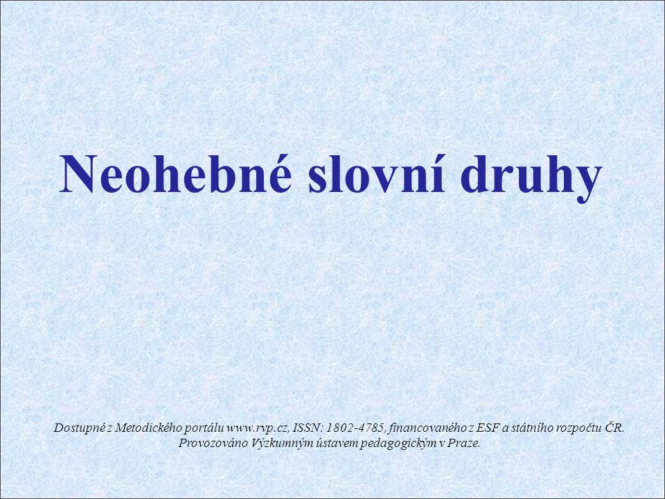 Neohebné slovní druhy