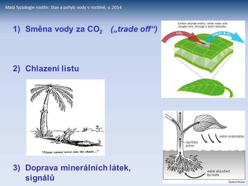 """1) Směna vody za CO2 (""""trade off )"""