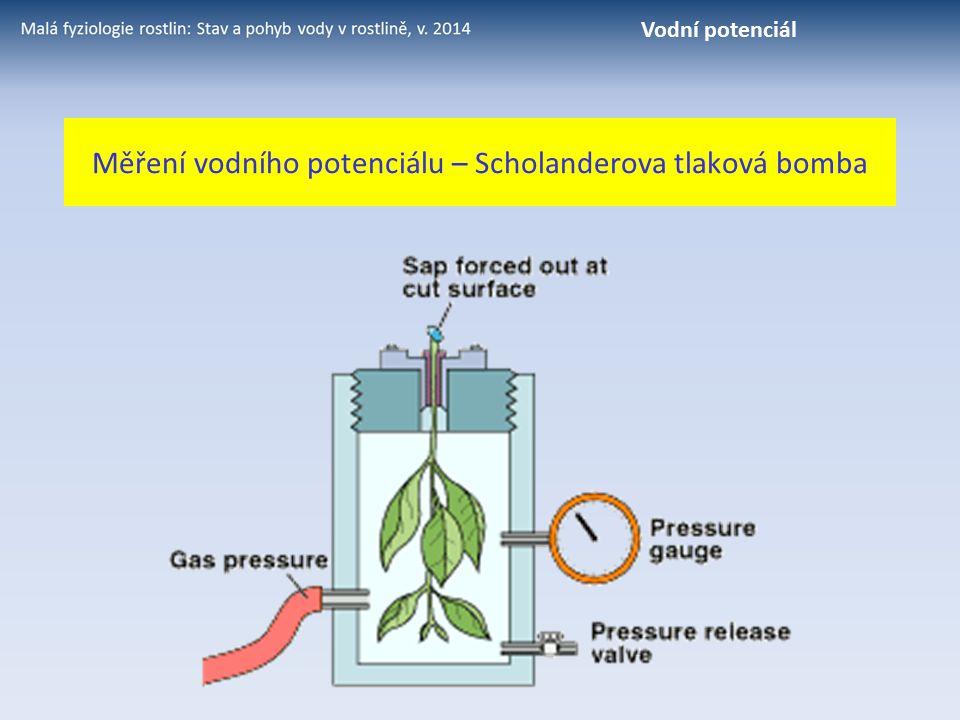 Měření vodního potenciálu – Scholanderova tlaková bomba