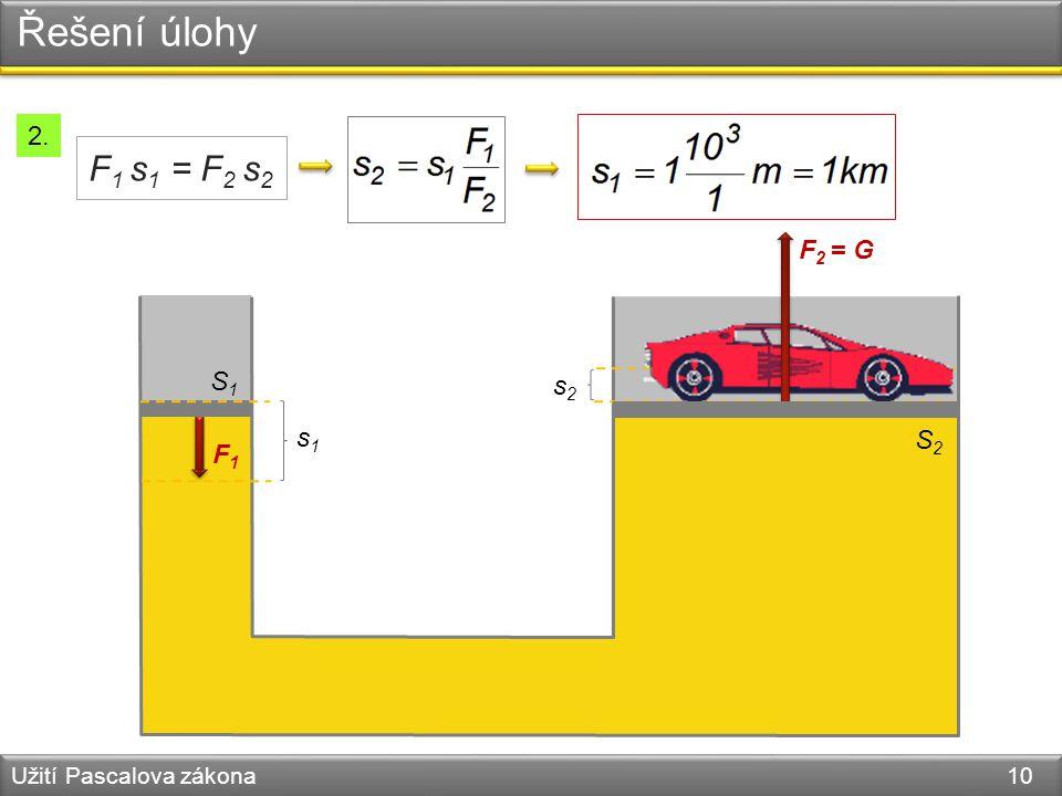 Řešení úlohy F1 s1 = F2 s2 2. F2 = G S1 s2 s1 S2 F1