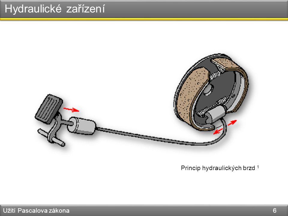 Hydraulické zařízení Princip hydraulických brzd 1