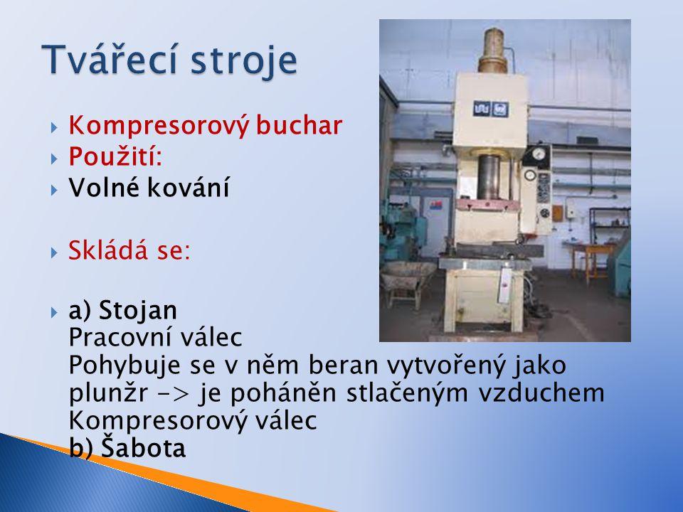 Tvářecí stroje Kompresorový buchar Použití: Volné kování Skládá se: