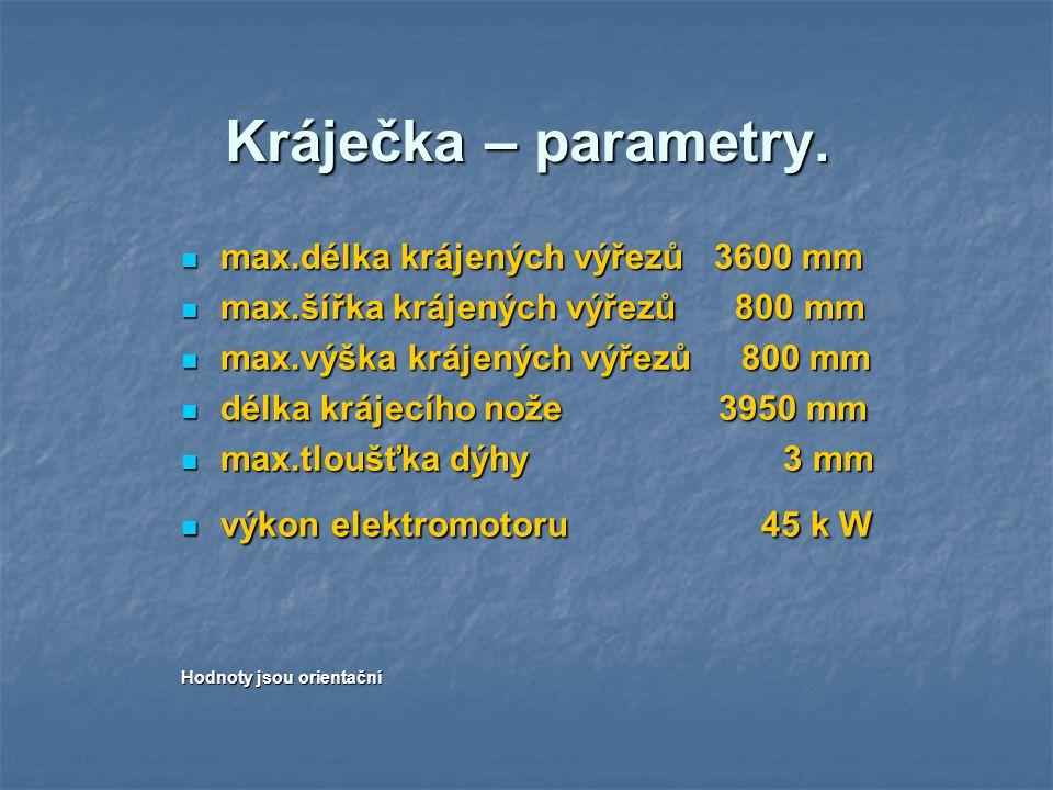 Kráječka – parametry. max.délka krájených výřezů 3600 mm
