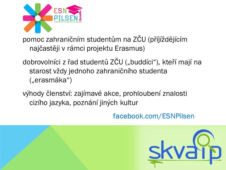 """pomoc zahraničním studentům na ZČU (příjíždějícím najčastěji v rámci projektu Erasmus) dobrovolníci z řad studentů ZČU (""""buddíci ), kteří mají na starost vždy jednoho zahraničního studenta (""""erasmáka ) výhody členství: zajímavé akce, prohloubení znalosti cizího jazyka, poznání jiných kultur facebook.com/ESNPilsen"""