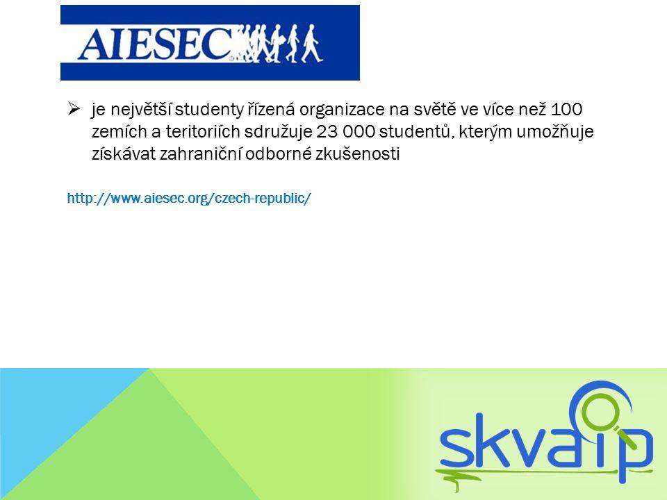 je největší studenty řízená organizace na světě ve více než 100 zemích a teritoriích sdružuje 23 000 studentů, kterým umožňuje získávat zahraniční odborné zkušenosti