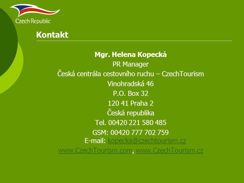 Kontakt Mgr. Helena Kopecká PR Manager