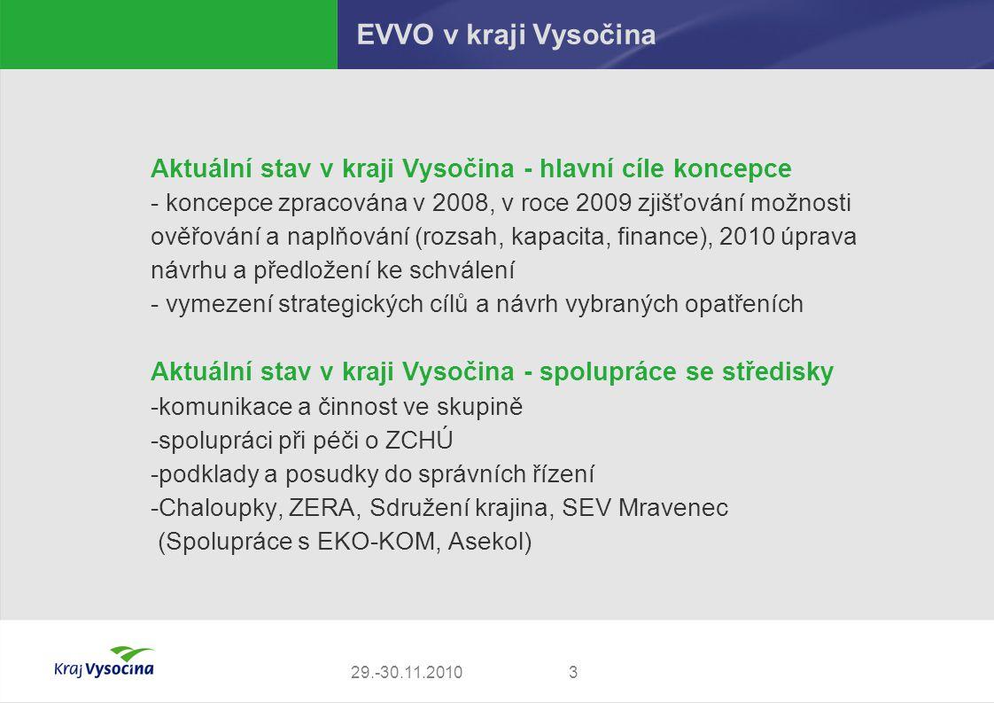 EVVO v kraji Vysočina Aktuální stav v kraji Vysočina - hlavní cíle koncepce.