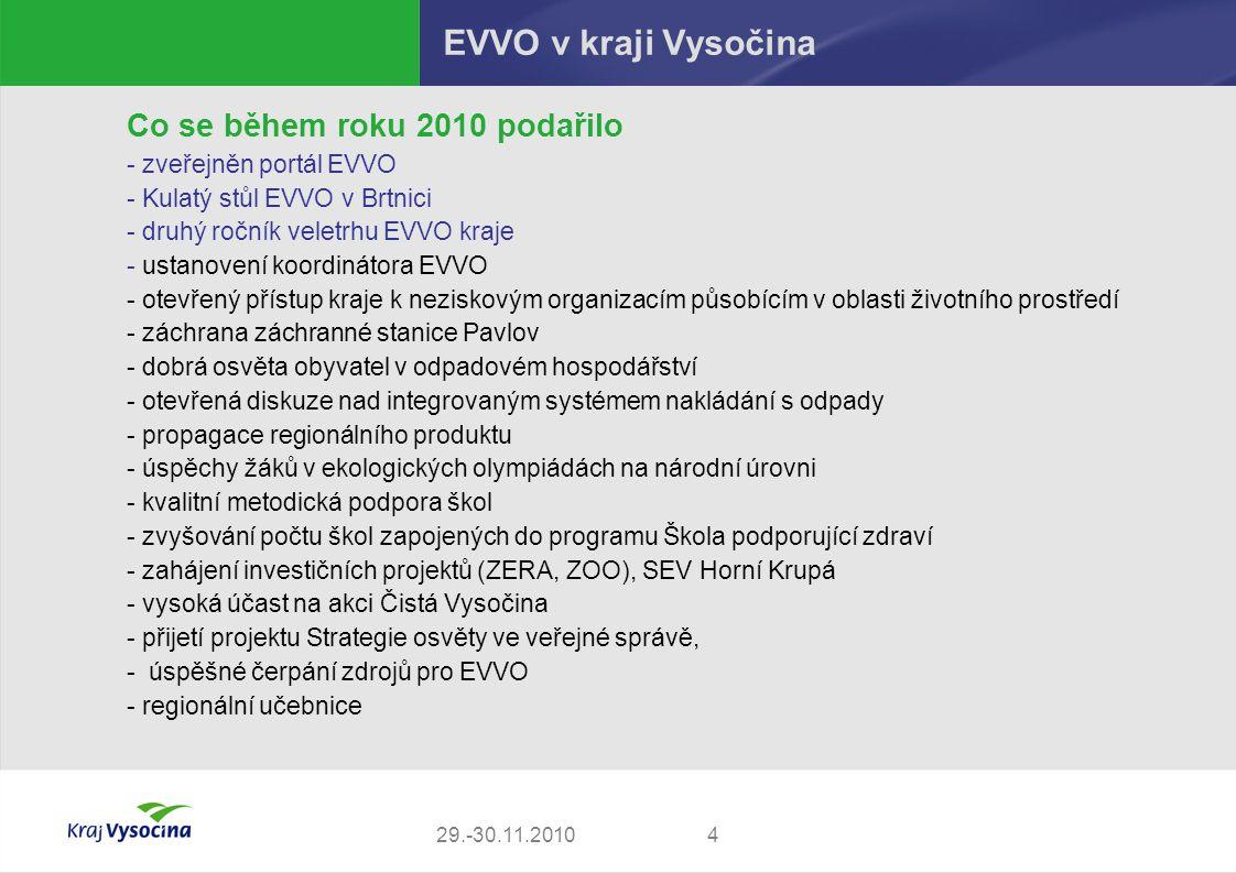 EVVO v kraji Vysočina Co se během roku 2010 podařilo