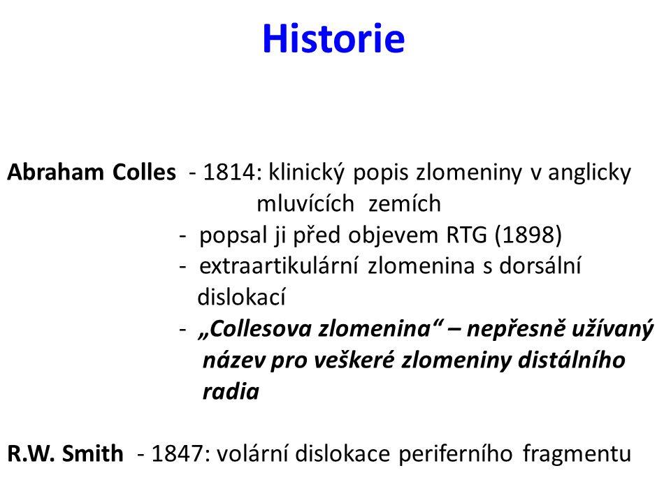 Historie Abraham Colles - 1814: klinický popis zlomeniny v anglicky