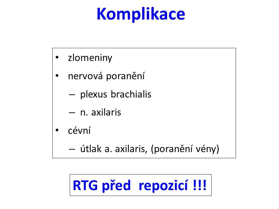 Komplikace RTG před repozicí !!! zlomeniny nervová poranění