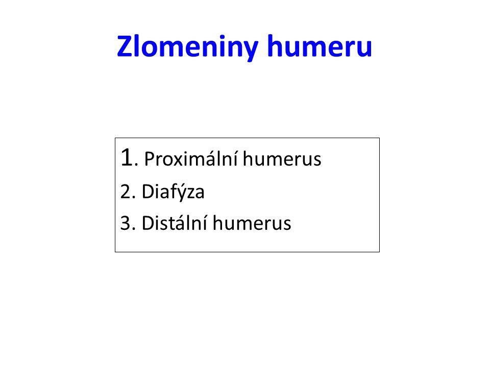 Zlomeniny humeru 1. Proximální humerus 2. Diafýza 3. Distální humerus