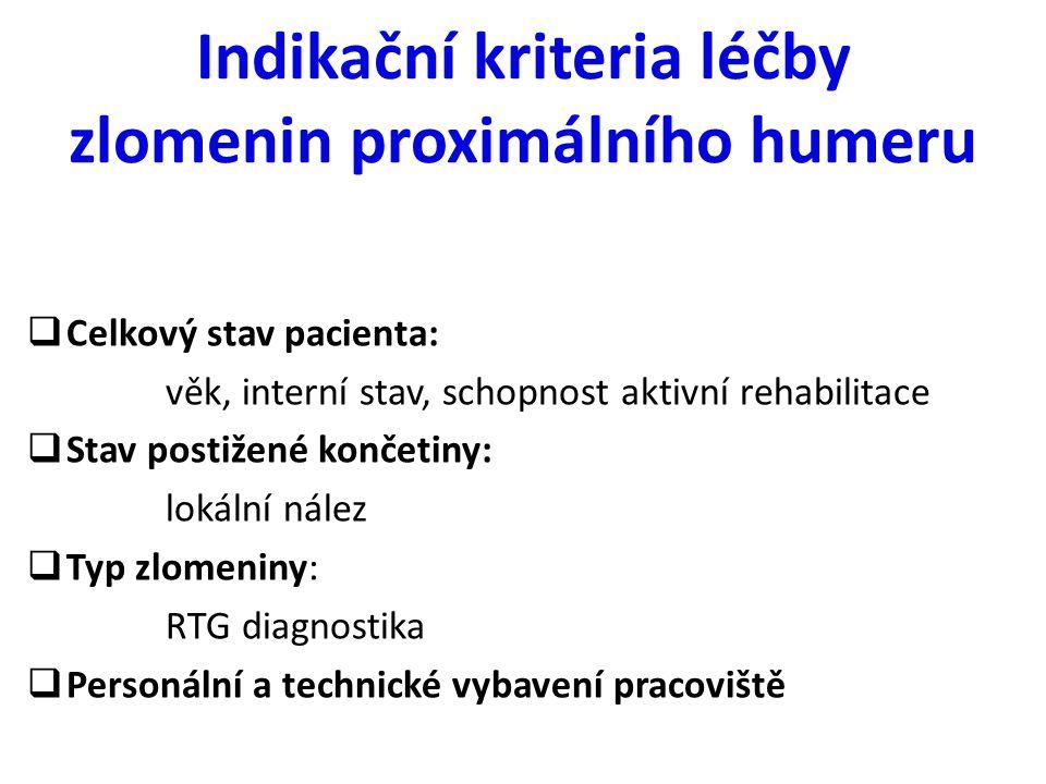 Indikační kriteria léčby zlomenin proximálního humeru