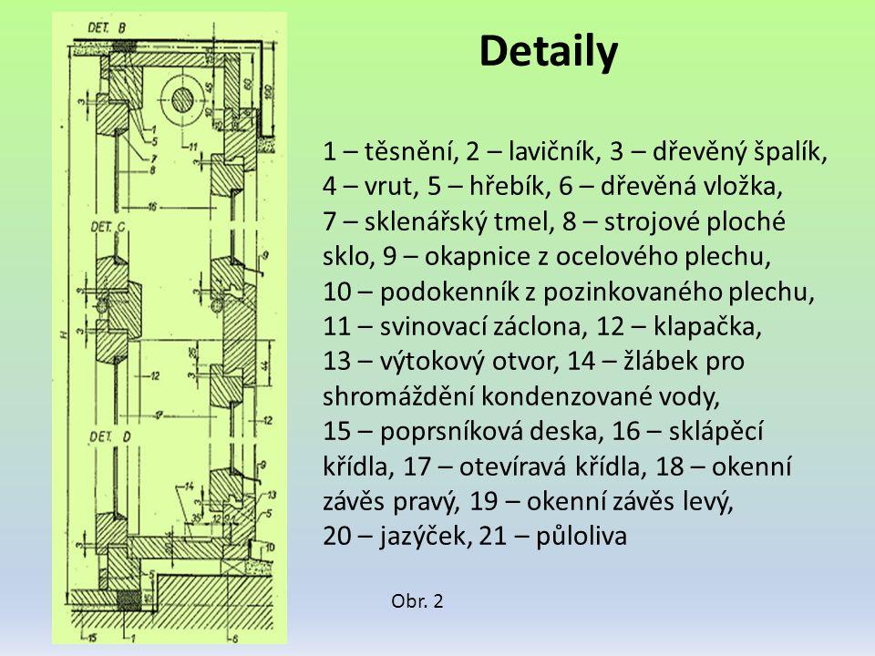 Detaily 1 – těsnění, 2 – lavičník, 3 – dřevěný špalík, 4 – vrut, 5 – hřebík, 6 – dřevěná vložka,