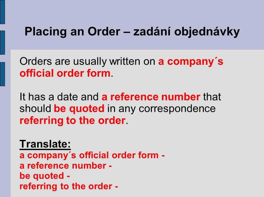 Placing an Order – zadání objednávky