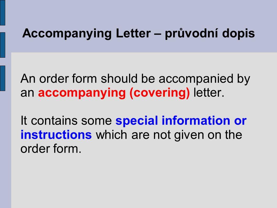 Accompanying Letter – průvodní dopis