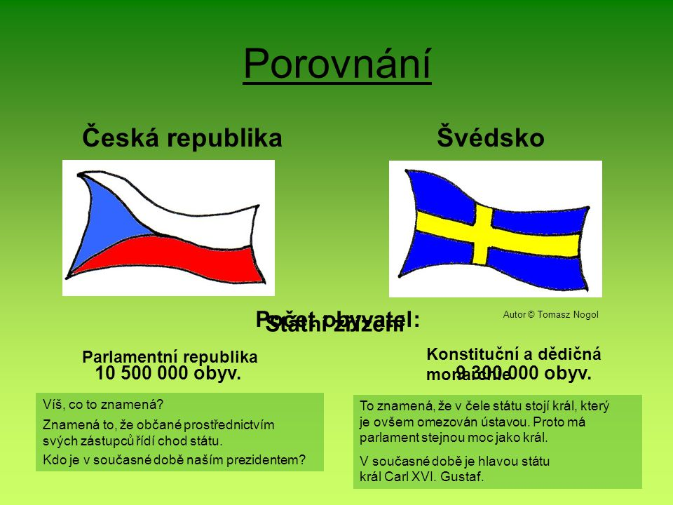 Porovnání Česká republika Švédsko Počet obyvatel: Státní zřízení