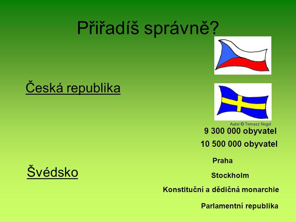 Přiřadíš správně Česká republika Švédsko 9 300 000 obyvatel
