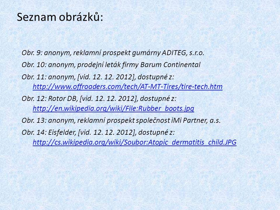 Seznam obrázků: Obr. 9: anonym, reklamní prospekt gumárny ADITEG, s.r.o. Obr. 10: anonym, prodejní leták firmy Barum Continental.