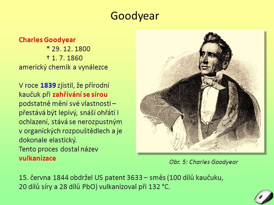 Goodyear Charles Goodyear * 29. 12. 1800 † 1. 7. 1860