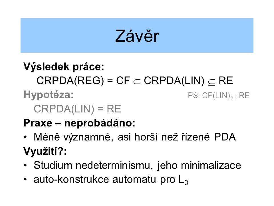 Závěr Výsledek práce: CRPDA(REG) = CF  CRPDA(LIN)  RE