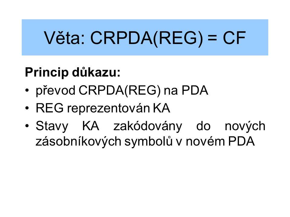 Věta: CRPDA(REG) = CF Princip důkazu: převod CRPDA(REG) na PDA