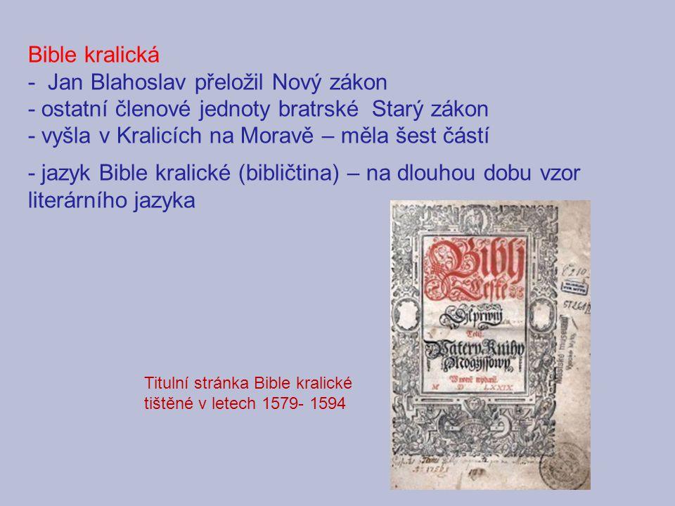 - Jan Blahoslav přeložil Nový zákon