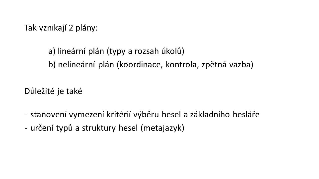 Tak vznikají 2 plány: a) lineární plán (typy a rozsah úkolů) b) nelineární plán (koordinace, kontrola, zpětná vazba)