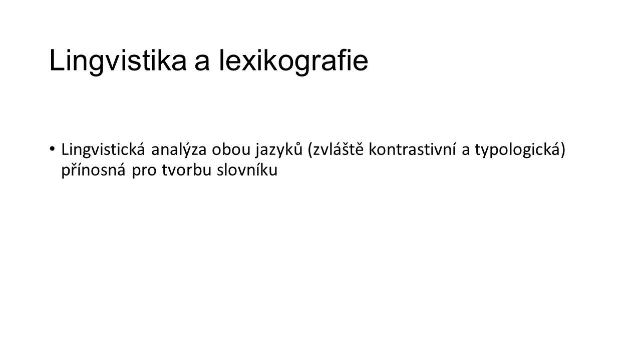 Lingvistika a lexikografie