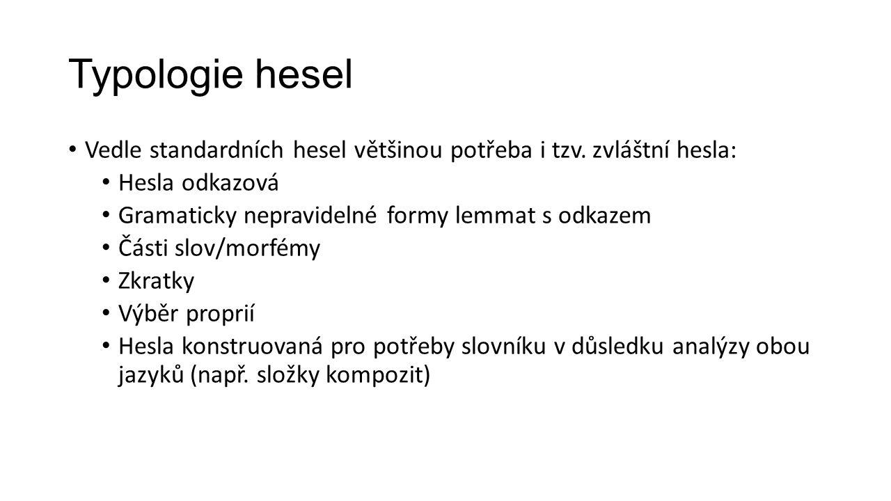 Typologie hesel Vedle standardních hesel většinou potřeba i tzv. zvláštní hesla: Hesla odkazová. Gramaticky nepravidelné formy lemmat s odkazem.