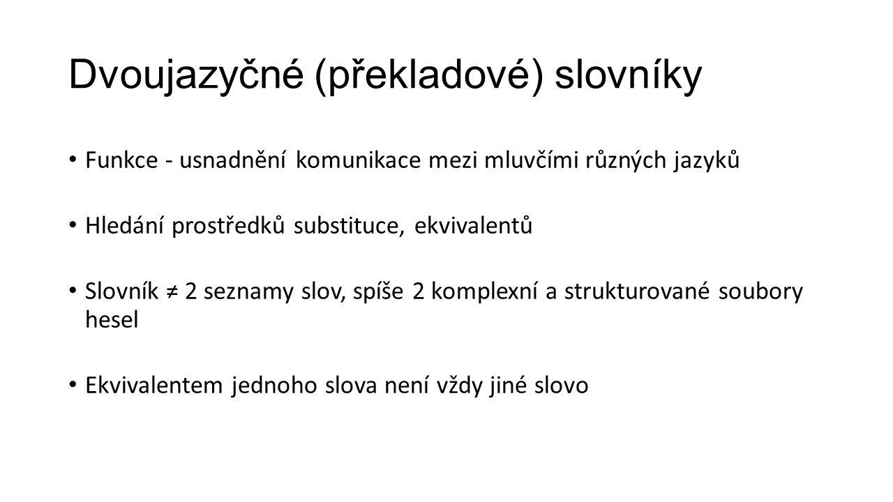 Dvoujazyčné (překladové) slovníky