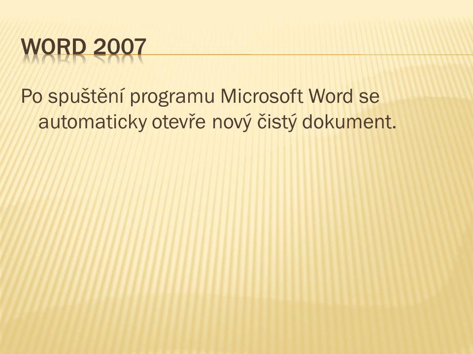 Word 2007 Po spuštění programu Microsoft Word se automaticky otevře nový čistý dokument.