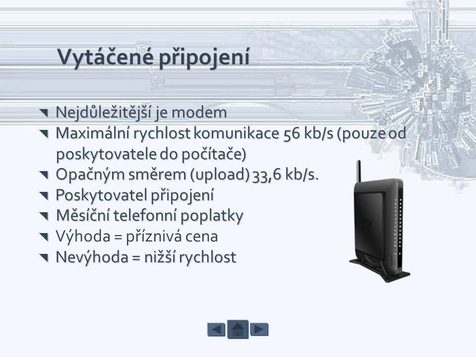 Vytáčené připojení poskytovatele do počítače)