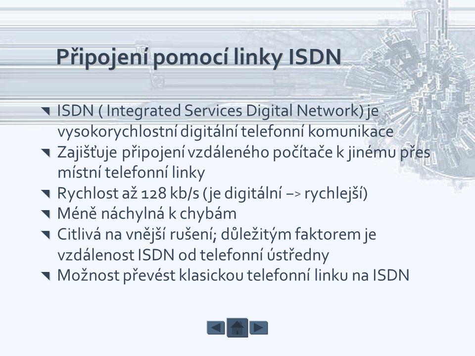 Připojení pomocí linky ISDN