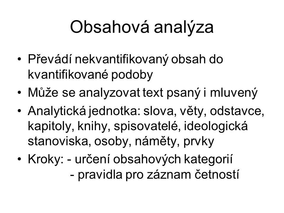 Obsahová analýza Převádí nekvantifikovaný obsah do kvantifikované podoby. Může se analyzovat text psaný i mluvený.