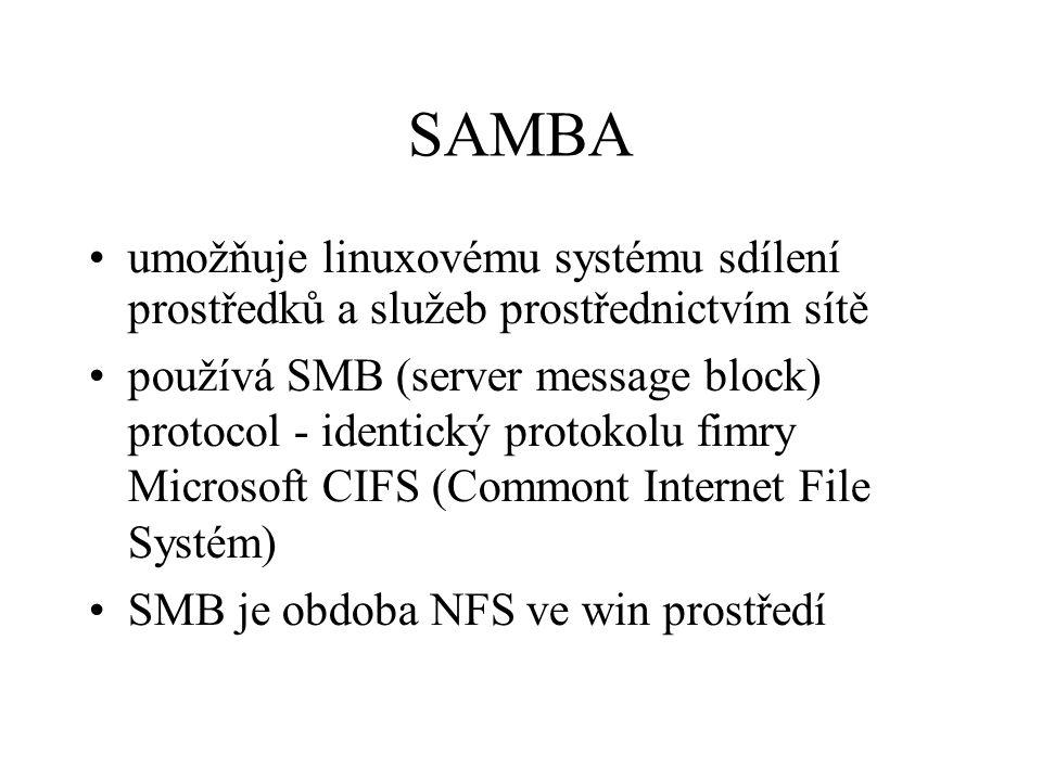 SAMBA umožňuje linuxovému systému sdílení prostředků a služeb prostřednictvím sítě.