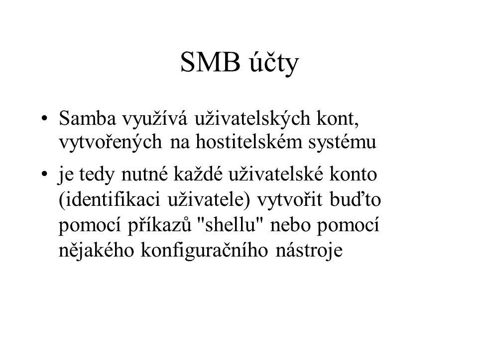 SMB účty Samba využívá uživatelských kont, vytvořených na hostitelském systému.