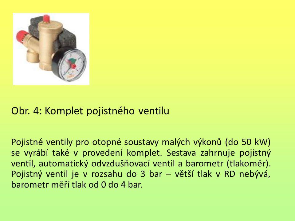 Obr. 4: Komplet pojistného ventilu