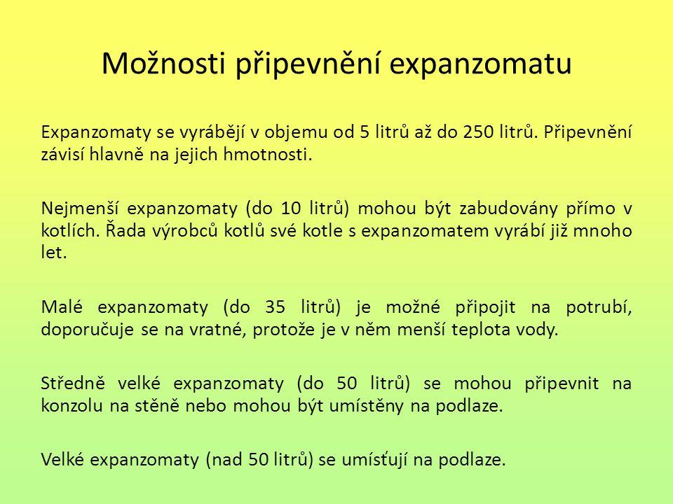 Možnosti připevnění expanzomatu