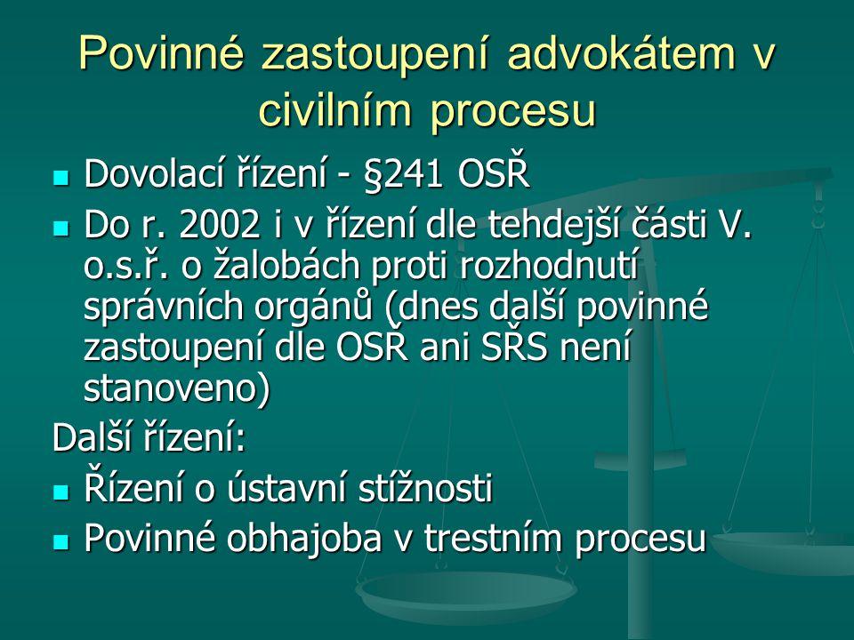 Povinné zastoupení advokátem v civilním procesu