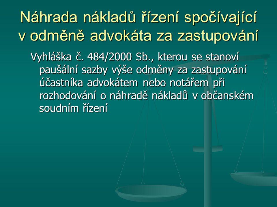 Náhrada nákladů řízení spočívající v odměně advokáta za zastupování