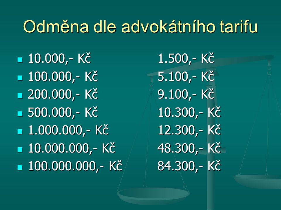 Odměna dle advokátního tarifu