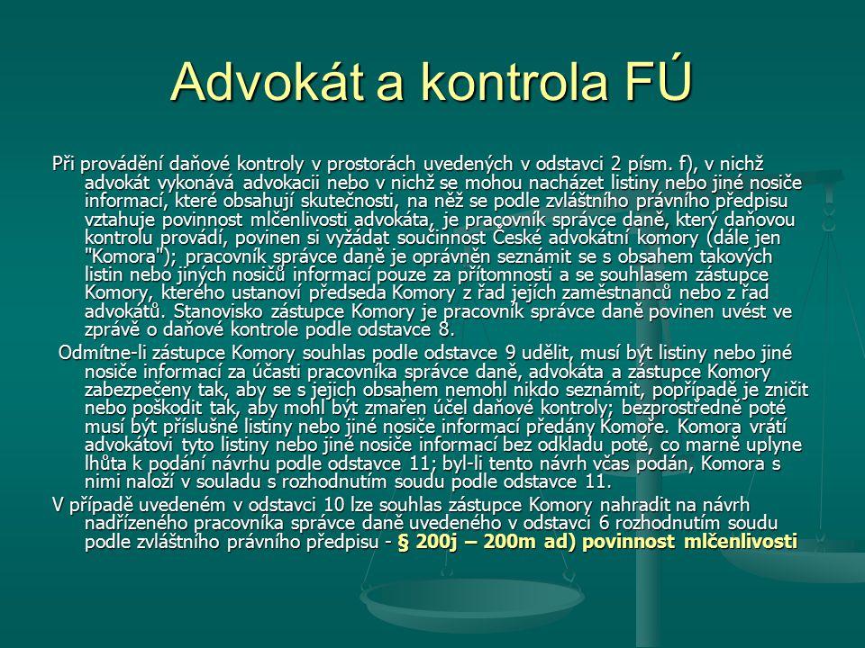 Advokát a kontrola FÚ
