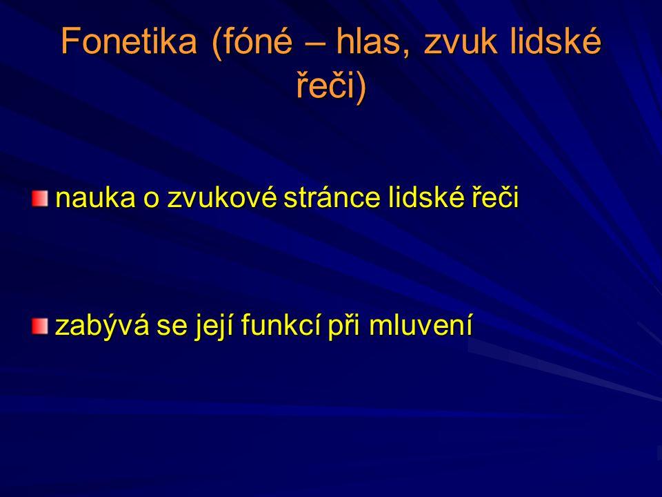 Fonetika (fóné – hlas, zvuk lidské řeči)