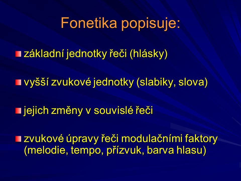 Fonetika popisuje: základní jednotky řeči (hlásky)