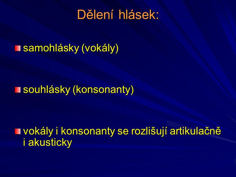 Dělení hlásek: samohlásky (vokály) souhlásky (konsonanty)