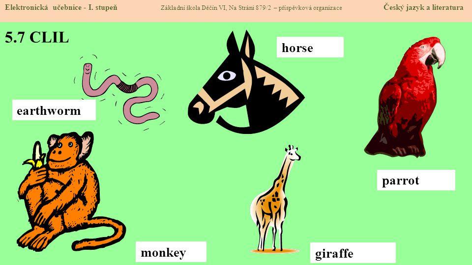 5.7 CLIL horse earthworm parrot monkey giraffe