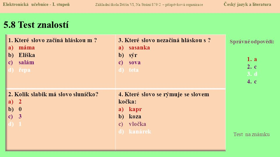 5.8 Test znalostí 1. Které slovo začíná hláskou m máma Eliška salám